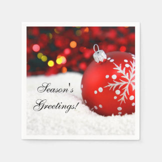 Nieve roja del ornamento del navidad de la chispa servilleta de papel