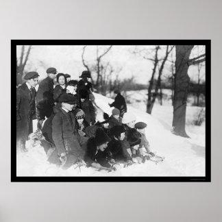 Nieve Sledding en el Central Park 1914 Impresiones