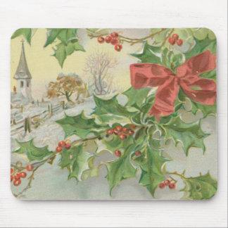 Nieve y acebo del día de navidad del vintage tapete de ratón