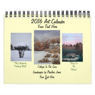 Nieve y pinturas estacionales 2016 del paisaje del calendarios