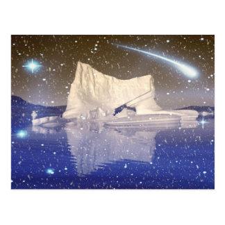 Nieves en alguna parte en postal del espacio