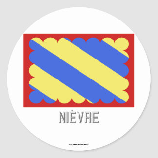 Nièvre flag with name classic round sticker