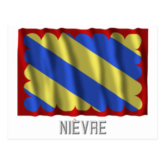 Nièvre waving flag with name postcard