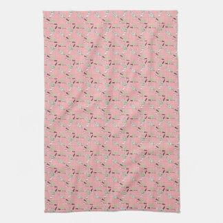 Nifty 50's Kitchen Towel: Utensils in Pink Hand Towel
