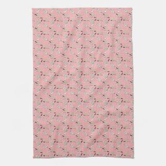 Nifty 50's Kitchen Towel: Utensils in Pink Hand Towel