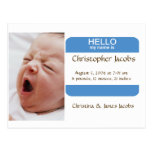 Nifty Nametag Birth Announcement For Boys Postcard