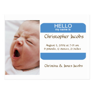 Nifty Nametag Birth Announcement For Boys Postcard