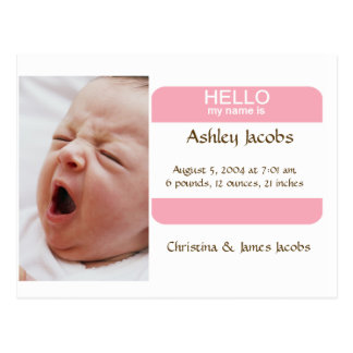 Nifty Nametag Birth Announcement For Girls Postcard