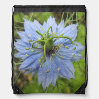 Nigella Blue Green Blooming Flower Drawstring Backpack