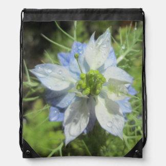 Nigella White Green Blue Rain Drawstring Bags