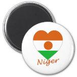 Niger Flag Heart 2 Inch Round Magnet