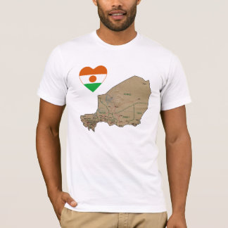 Niger Flag Heart and Map T-Shirt