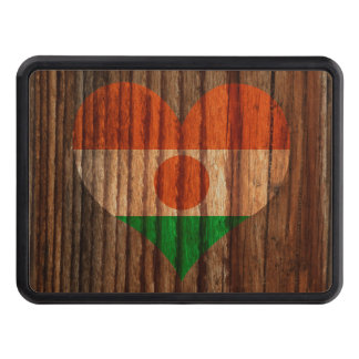 Niger Flag Heart on Wood theme Tow Hitch Covers