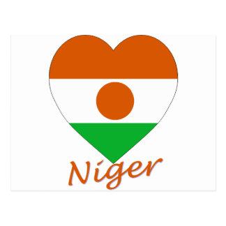 Niger Flag Heart Postcard