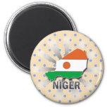 Niger Flag Map 2.0 2 Inch Round Magnet