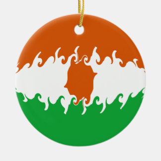 Niger Gnarly Flag Double-Sided Ceramic Round Christmas Ornament