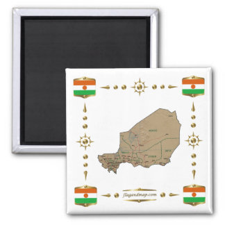 Niger Map + Flags Magnet
