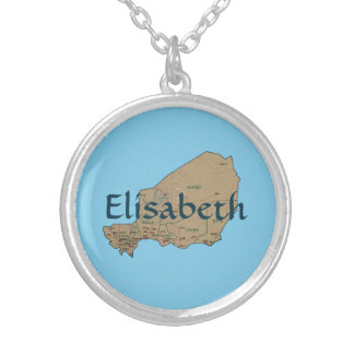 Niger Map + Name Necklace