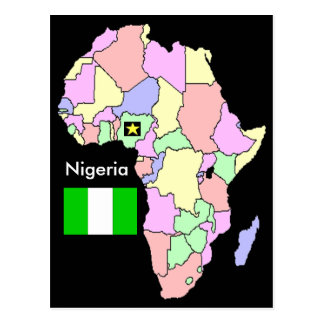 Nigeria Africa Map Postcard