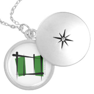 Nigeria Brush Flag Silver Plated Necklace