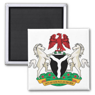 Nigeria Coat of Arms detail 2 Inch Square Magnet