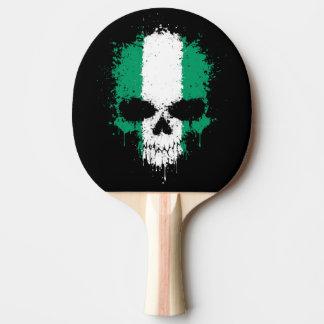 Nigeria Dripping Splatter Skull Ping-Pong Paddle