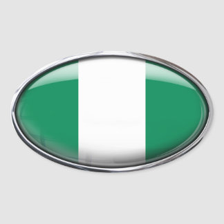 Nigeria Flag Glass Oval Oval Sticker