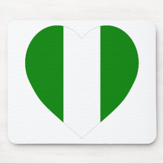 Nigeria Flag Heart Mouse Pads