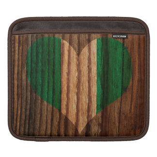 Nigeria Flag Heart on Wood theme iPad Sleeves