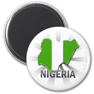 Nigeria Flag Map 2.0 2 Inch Round Magnet