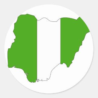 Nigeria flag map classic round sticker