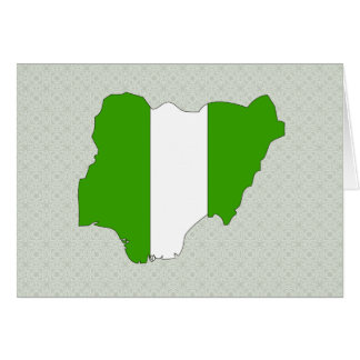 Nigeria Flag Map full size Greeting Card