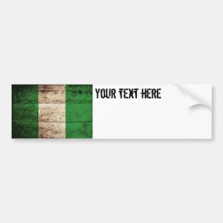 Nigeria Flag on Old Wood Grain Bumper Sticker