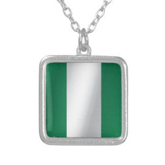 Nigeria flag square pendant necklace