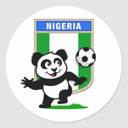 Round Sticker with Nigeria Football Panda design