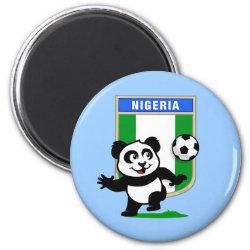 Round Magnet with Nigeria Football Panda design