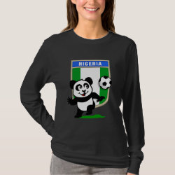 Women's Basic Long Sleeve T-Shirt with Nigeria Football Panda design