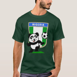 Men's Basic Dark T-Shirt with Nigeria Football Panda design