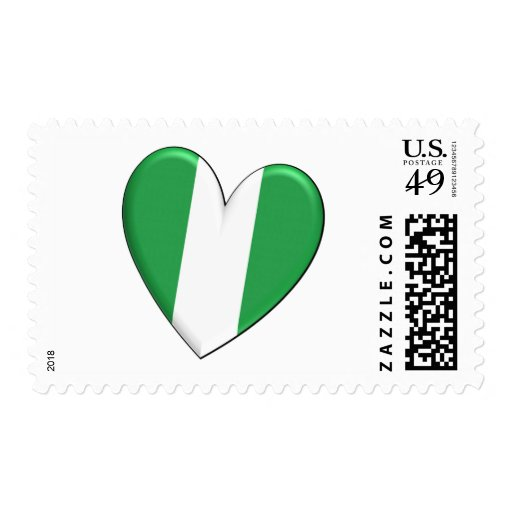 Nigeria Heart Flag Postage Stamps