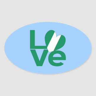 Nigeria LOVE Green Oval Sticker