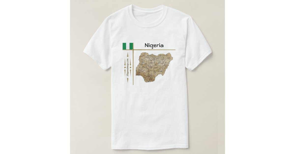 Nigeria map flag title t shirt zazzle for T shirt design store near me