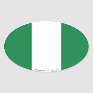 Nigeria Plain Flag Oval Sticker