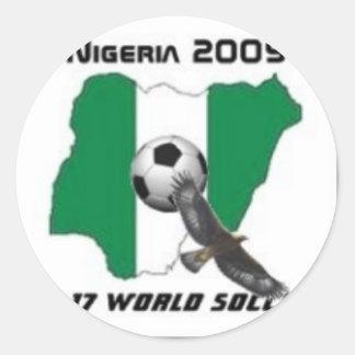 Nigeria soccer classic round sticker