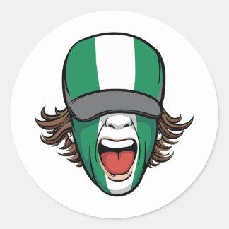 Nigeria sports fan classic round sticker