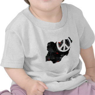Nigeria Trendy Peace Sign with Nigerian map T Shirt