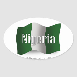 Nigeria Waving Flag Oval Sticker