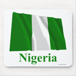 Nigeria Waving Flag with Name Mouse Pads