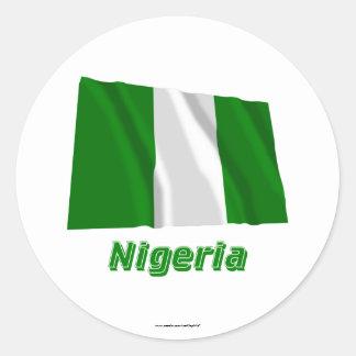 Nigeria Waving Flag with Name Round Sticker