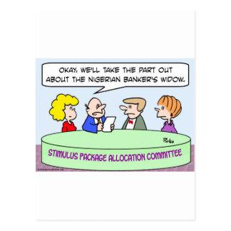 nigerian bankers widow stimulus package obama postcard