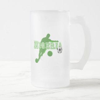 Nigerian bend it Nigeria flag logo shirts & gifts 16 Oz Frosted Glass Beer Mug